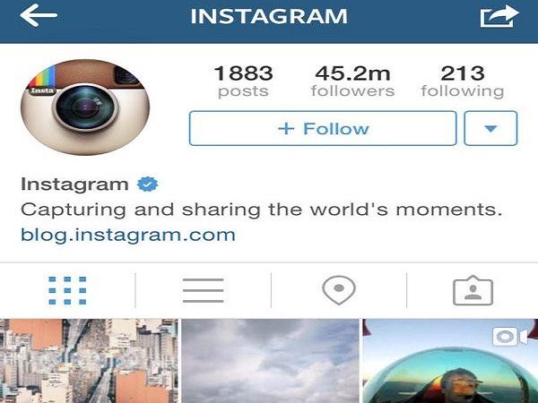 Ứng dụng instagram mở đăng ký dấu tích xanh